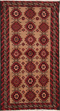 Geometric Tribal Balouch Persian Hand-Knotted 3x6 Runner Rug