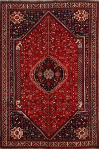 Antique Tribal Geometric Kashkoli Shiraz Persian Hand-Knotted 6x10 Wool Area Rug