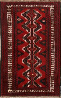 Red Geometric Balouch Persian Hand-Knotted 4x6 Wool Area Rug