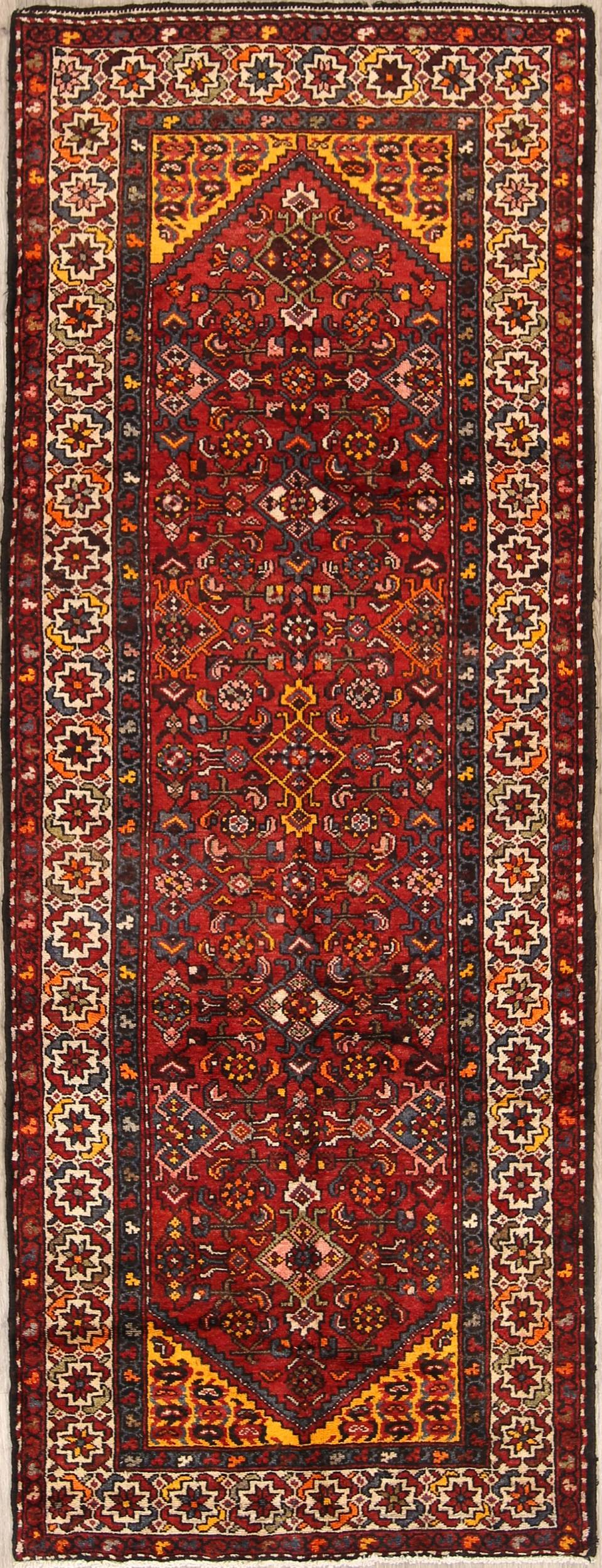 Floral Red Malayer Hamedan Persian Hand-Knotted Runner Rug 4x10