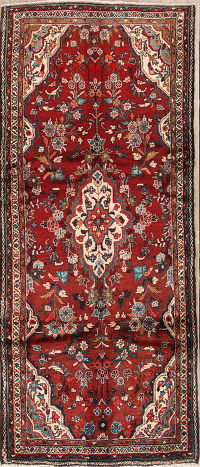 Floral Red Hamedan Persian Hand-Knotted Runner Rug Wool 4x9