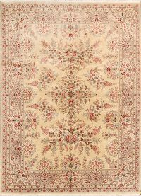 Floral Tabriz Chinese Oriental Hand-Knotted 9x12 Wool Area Rug