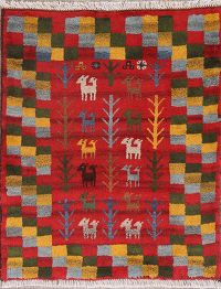 Animal Pictorial 3x4 Gabbeh Shiraz Persian Area Rug
