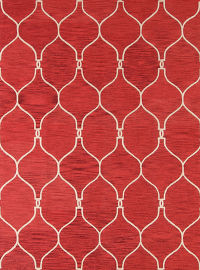 Hand-Tufted Red Oushak Trellis Oriental Area Rug 8x10