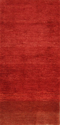 Solid Red 3x7 Gabbeh Shiraz Persian Rug Runner