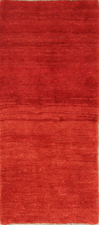 Solid Red 3x6 Gabbeh Shiraz Persian Rug Runner
