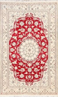 Red Floral Nain Persian Wool Silk Area Rug 5x8