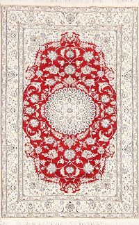 Floral Red Nain Persian Wool Silk Area Rug 5x8