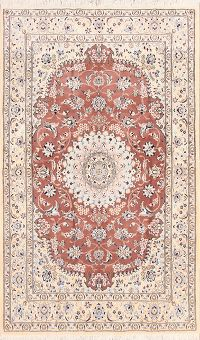 Floral Nain Persian Wool Silk Area Rug 5x8