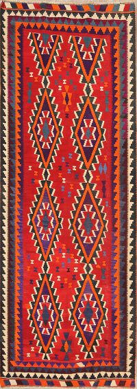 Geometric Red Kilim Qashqai Persian Hand-Woven Runner Rug Wool 5x10