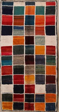 Checked Gabbeh Shiraz Persian Modern Area Rug 4x6