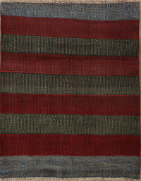 Striped Modern Gabbeh Shiraz Persian Hand-Knotted 4x5 Wool Rug