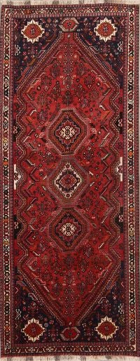 Tribal Geometric 4x10 Abadeh Shiraz Persian Rug Runner
