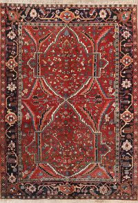 Geometric Red Heriz Serapi Persian Hand-Knotted Area Rug Wool 7x10