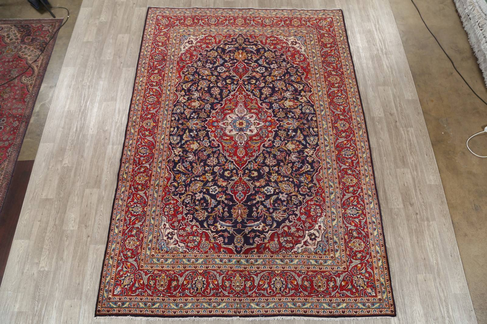 Navy Blue Floral 8x12 Kashan Persian Area Rug