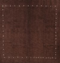 Contemporary Gabbeh Oriental Hand-Knotted 10x10 Square Brown Wool Rug
