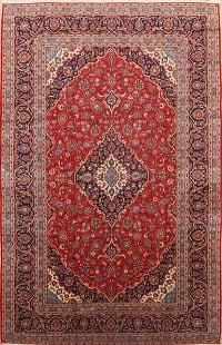 Traditional Floral Kashan Persian Hand-Knotted 8x13 Red Area Rug