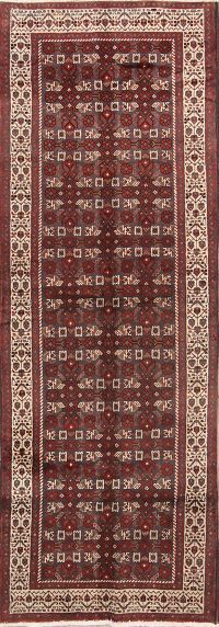 All-Over Geometric Traditional Hamedan Persian 4x10 Runner Rug