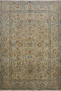 All-Over Floral Sage Green Kashan Persian Area Rug 5x7