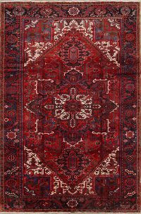 Geometric One-of-a-Kind Heriz Persian Hand-Knotted 8x12 Wool Red Area Rug