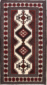 Tribal Ivory 3x6 Balouch Persian Rug Runner