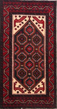 Geometric Tribal 3x6 Balouch Turkoman Persian Rug Runner
