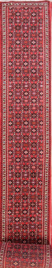 All-Over Geometric 3x32 Hossainabad Hamadan Persian Rug Runner