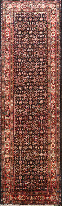Vintage All-Over Hamedan Persian Runner Rug 4x13