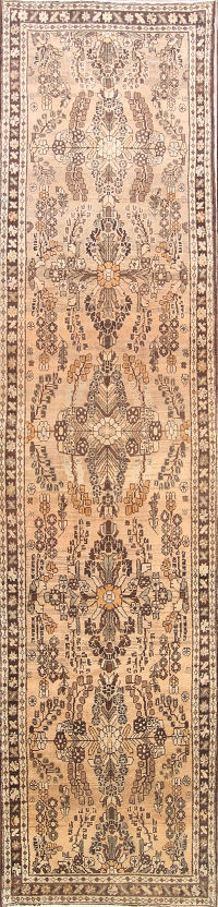 Antique Muted Color 3x13 Lilian Hamedan Persian Rug Runner
