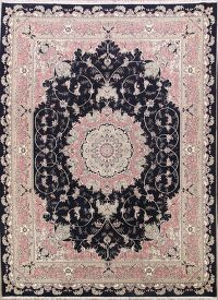 Floral Black Tabriz Persian Area Rug 10x13