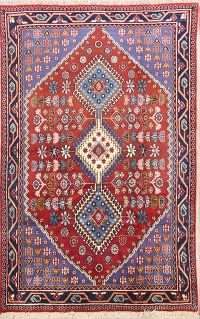 South-West Geometric Yalamah Shiraz Persian Area Rug 4x7