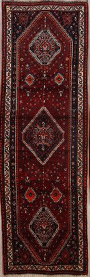 Geometric Tribal  Abadeh Persian 3'x9' Runner Rug