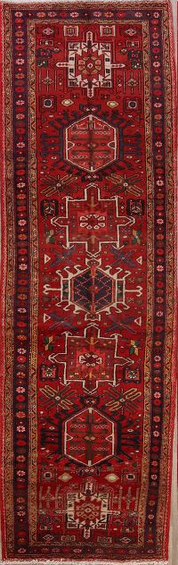Geometric Tribal 4x11 Heriz Persian Rug Runner