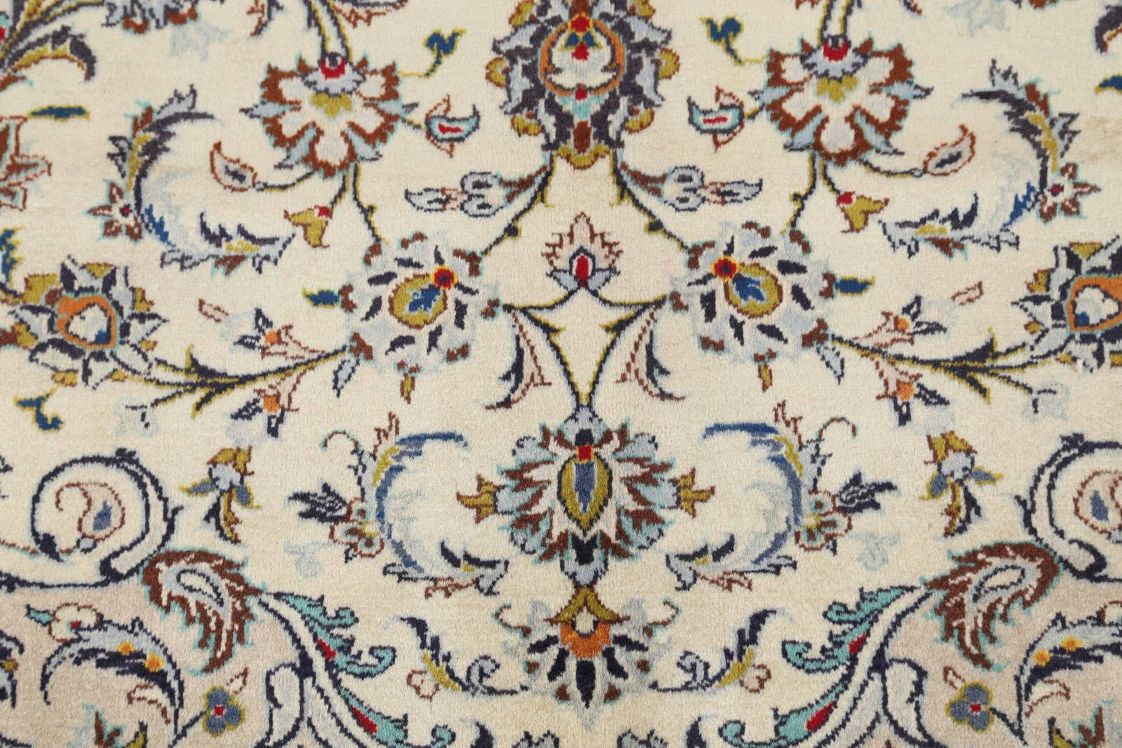 Ivory Floral 10x13 Kashan Persian Area Rug