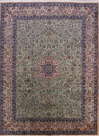 Kork Wool Vegetable Dye Green 10x13 Yazd Persian Area Rug
