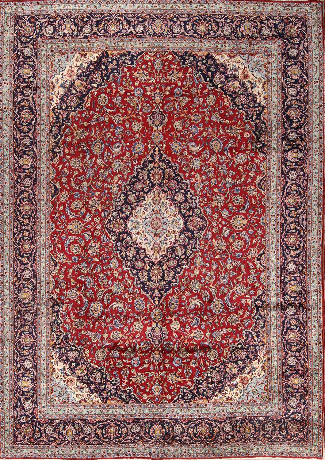 Traditional Floral 10x14 Kashan Persian Area Rug image 1