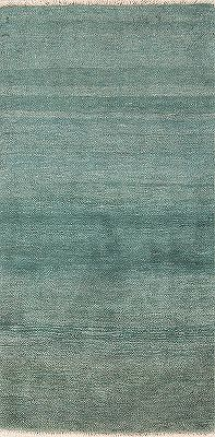 Teal Green Modern Gabbeh Shiraz Persian Runner Rug 3x6