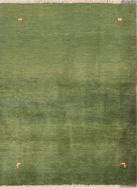 Thick Pile Abstract 4x5 Gabbeh Shiraz Persian Green Rug