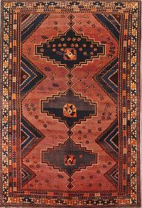 Antique Geometric Tribal  Lori Persian Hand-Kntoted 7x9 Area Rug