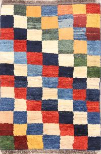 Checked 3x4 Gabbeh Shiraz Persian Area Rug