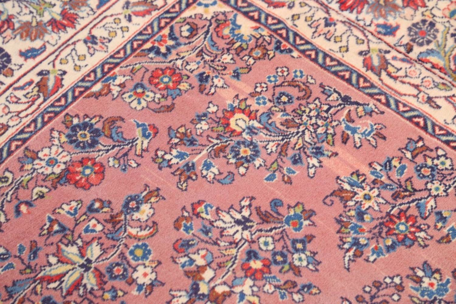 All Over Floral Square 7x7 Sarouk Persian Area Rug