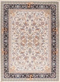 All-Over Floral Ivory 10x13 Tabriz Persian Area Rug