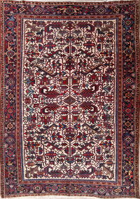All-Over Ivory Geometric 7x10 Heriz Persian Area Rug