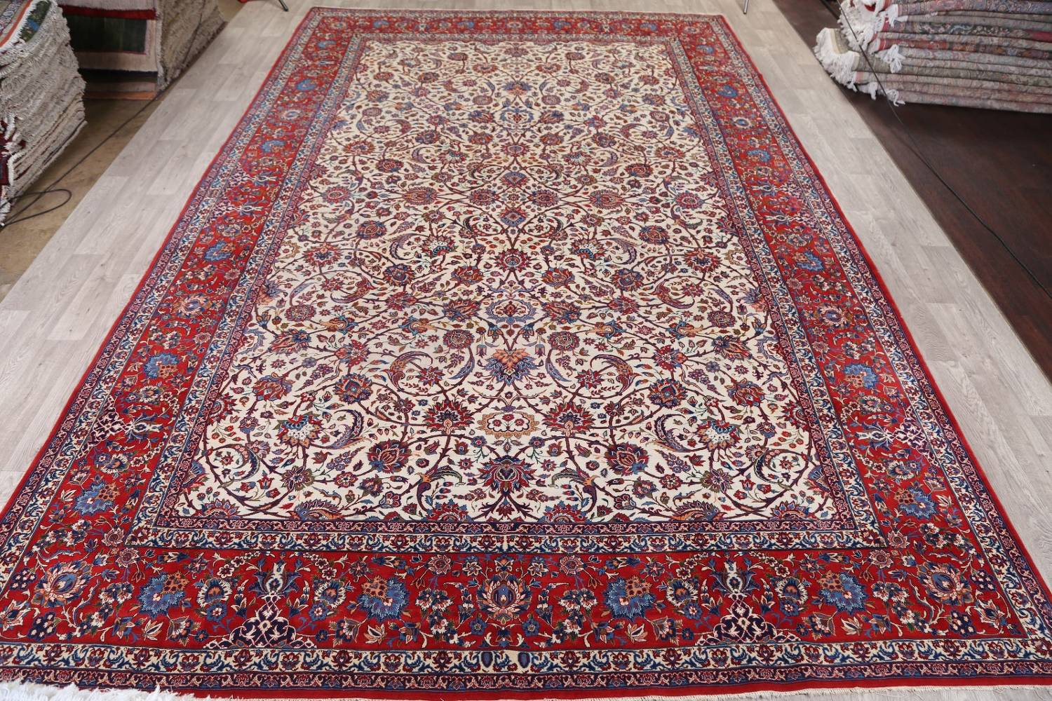 Antique Floral 10x16 Isfahan Persian Area Rug image 19