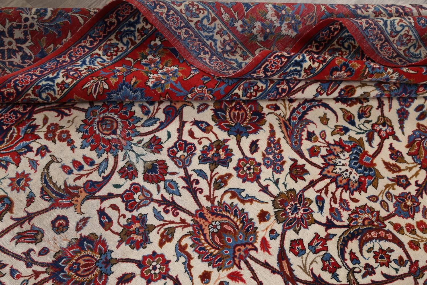 Antique Floral 10x16 Isfahan Persian Area Rug image 24