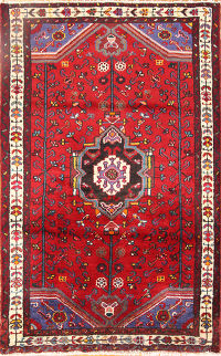 Geometric Hamedan Malayer Persian Area Rug 3x4
