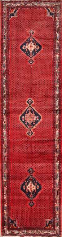 Geometric 4x16 Malayer Hamedan Persian Rug Runner