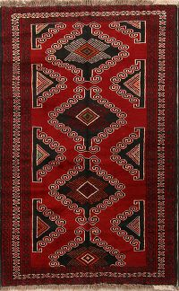 Geometric Tribal Foyer Size 4x7 Balouch Persian Area Rug