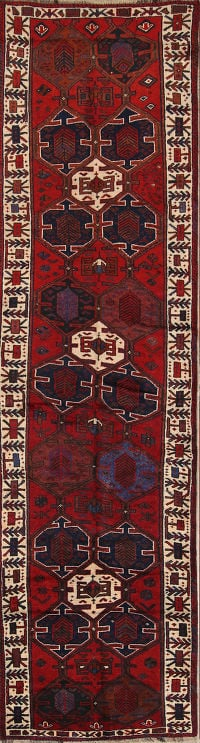 Tribal Geometric 4x13 Qashqai Shiraz Persian Rug Runner