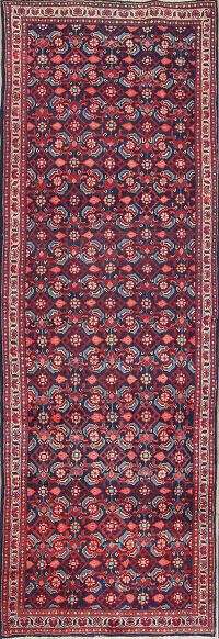 Hand-Knotted All-Over Geometric Sarouk Persian Rug Runner Wool 4x10